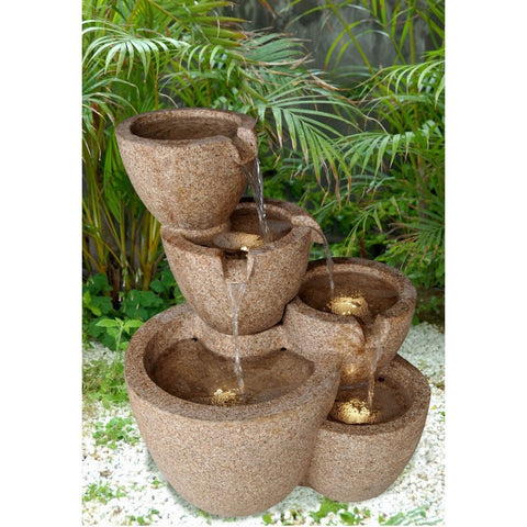 Jeco - Muiti Pots Sandstone Outdoor or Indoor Water Fountain with Led Lights - Default Title - Water Gardening  - Yard Outlet