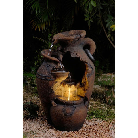 Old Fashion Pot  Outdoor Fountain with Led Light - Jeco