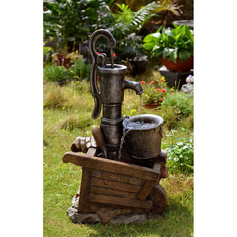 Water Pump and Pot Water Fountain with Led Light - Jeco