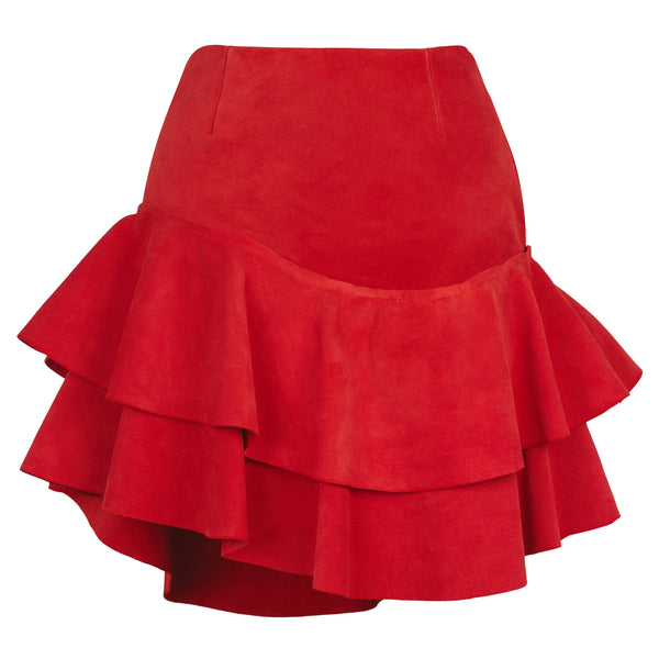 Lashes Red Calf Suede Skirt