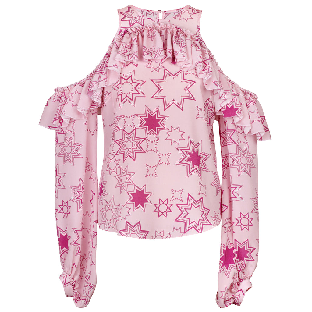 Gracie (Pink) Cut Out Star Print Blouse