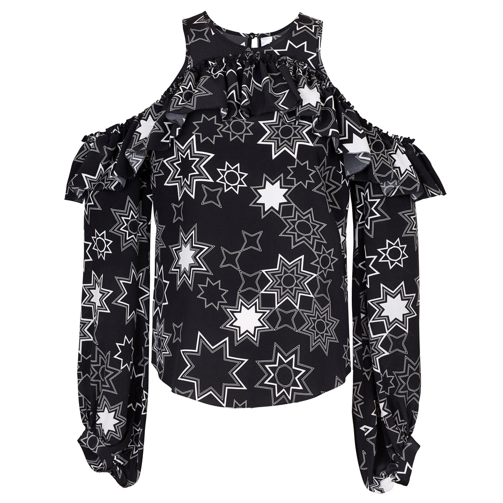 Gracie (Black) Cut Out Star Print Blouse