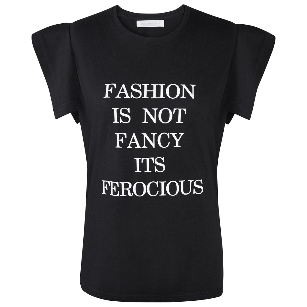 Black Fashion Is Not Fancy Fly-Away Sleeve T-Shirt