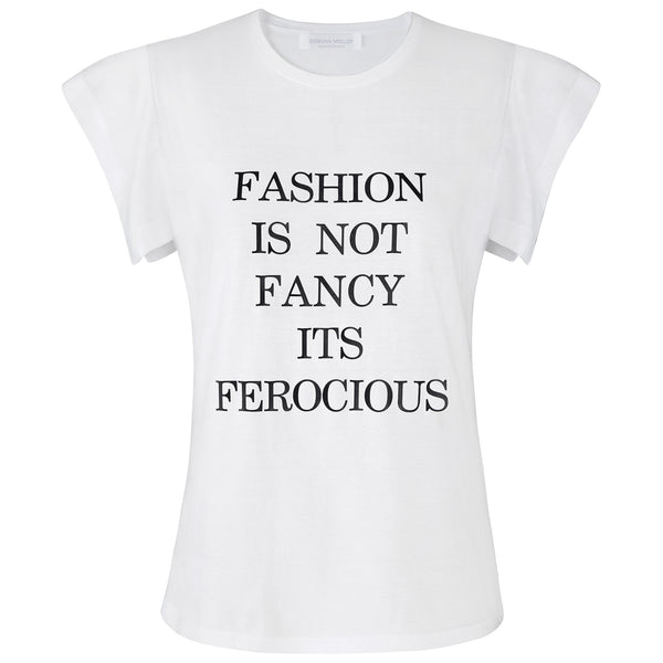 White Fashion Is Not Fancy Fly-Away Sleeve T-Shirt