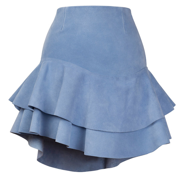 Lashes Baby Blue Calf Suede Skirt