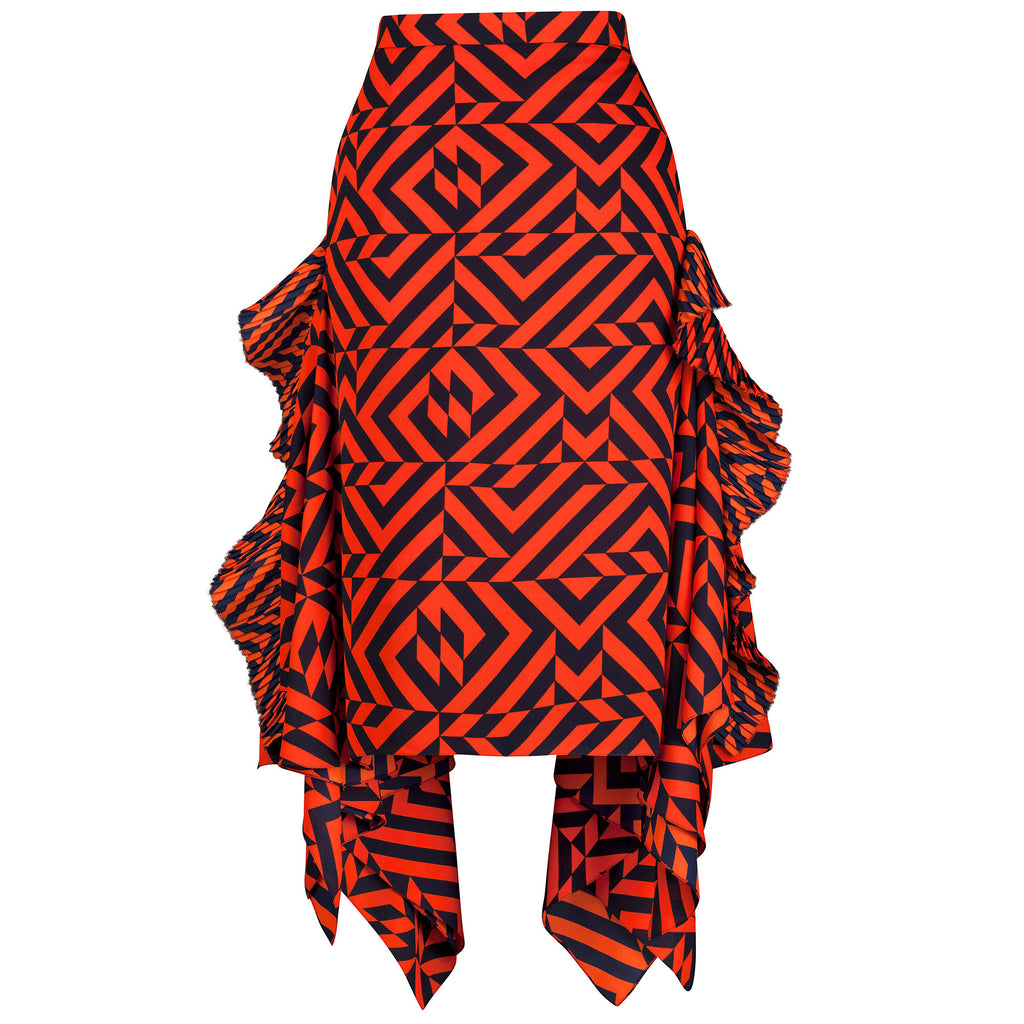Gracie Geometric Print Midi Skirt