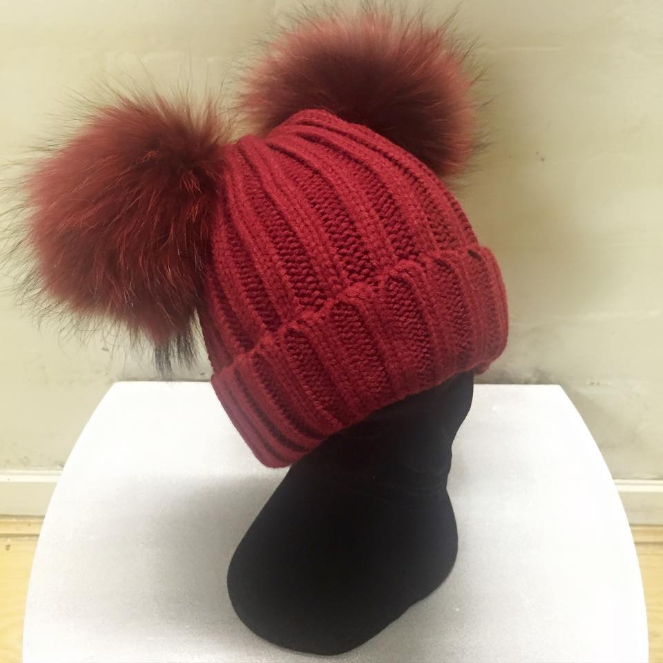 Red Giant Natural Fur Double Bobble Hat