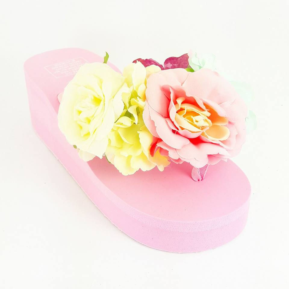 Flower Detail Wedge Flip Flop - Pink