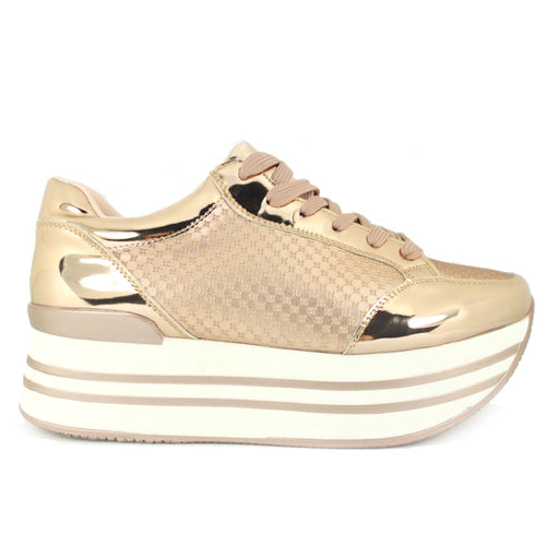 Empire | Flatform Metallic Trainer | Rose Gold