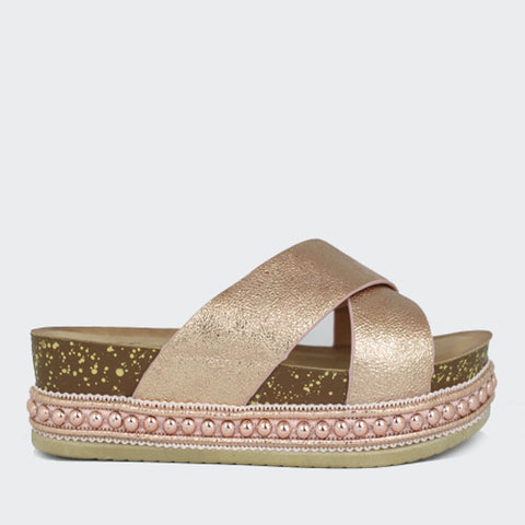 Sunrise | Metallic Strap Flatform | Rose Gold