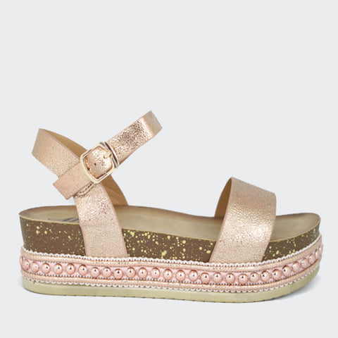 Carrie | Metallic Woven Wedge | Rose Gold