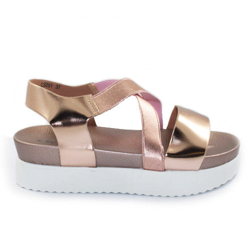Vibe | Metallic Strap Flatform | Rose Gold