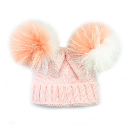 Limited Edition Kids Double Bobble Hat | Pink - White/Peach Fur