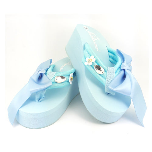 Bow Detail Wedge Flip Flop - Lt.Blue