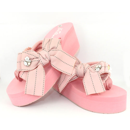 Bow Detail Wedge Flip Flop - Pink