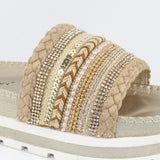 Carrie | Diamante Flatform - Gold