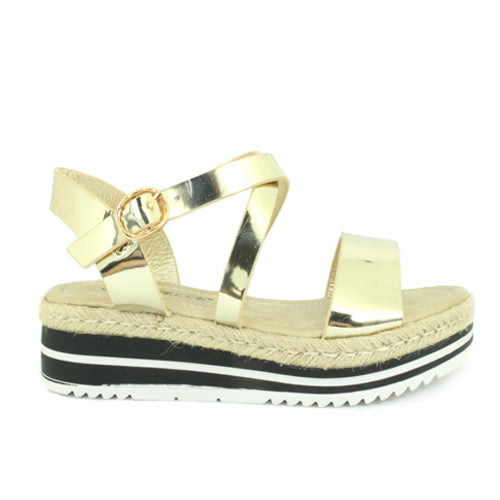 Daisy | Metallic Strappy Flatform | Gold