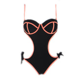 Vegas | Cut Out One Piece | Black/Coral
