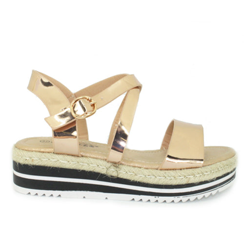 Daisy | Metallic Strappy Flatform | Rose Gold