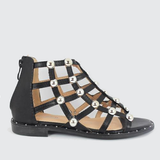 Nicki | Studded Gladiator - Black