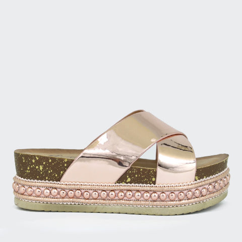 Indigo | Metallic Strap Flatform | Rose Gold