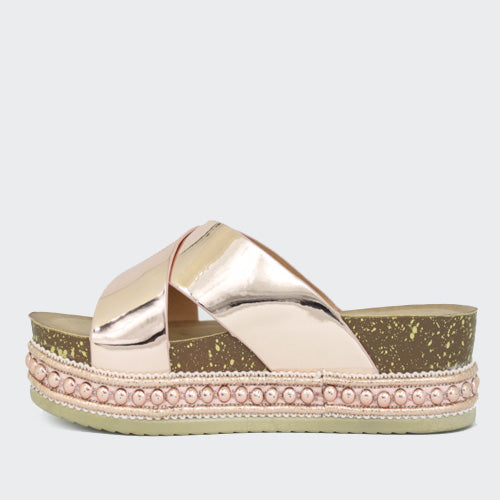 Hailey | Metallic Mule Flatform | Rose Gold