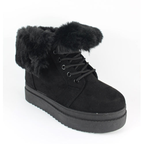 Taylor | Fur Cuff Ankle Boot | Black