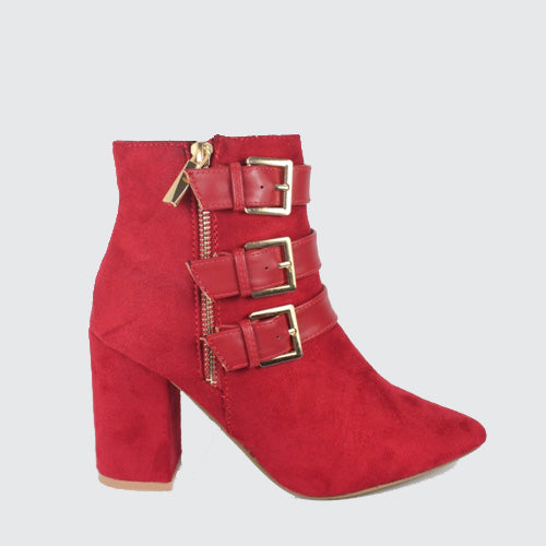 Kiko - High Heeled Buckle Ankle Boot - Red