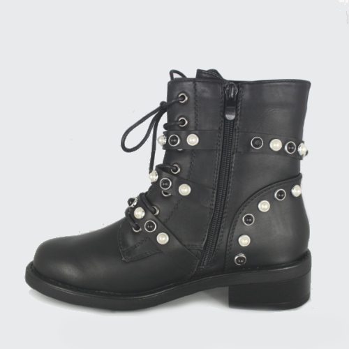 Sofia- Flat Biker Buckle Boot - Black