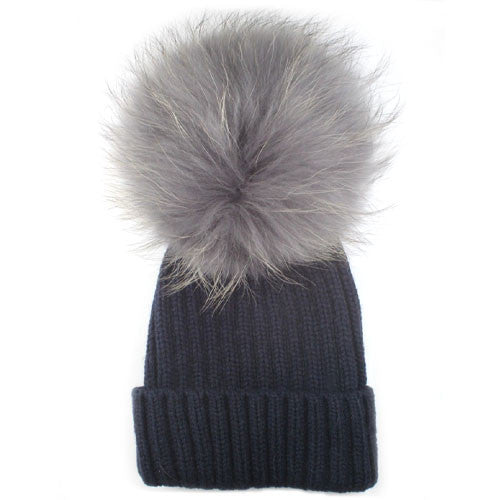 Navy Hat Silver Fox Fur 18cm Giant Bobble Hat – Moda Shoes   Accessories 2f66ce297