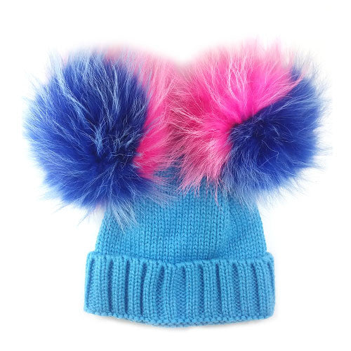 Limited Edition Kids Double Bobble Hat | Blue - Blue/Pink Fur