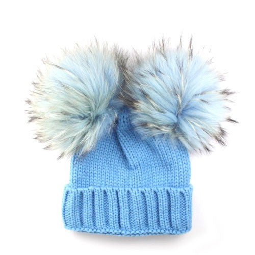 Double Bobble Hat | Blue - Blue Fur