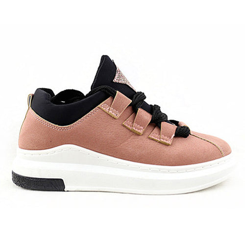 Katy | Lace Up Trainer | Dk.Pink