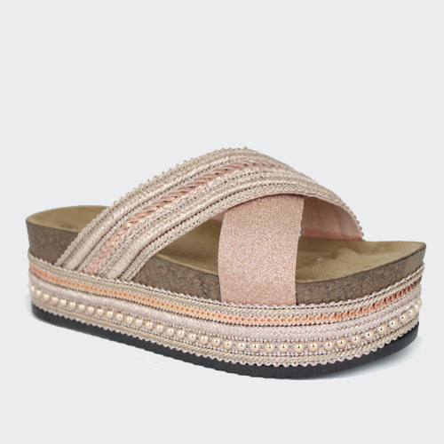 Palm | Hessian Mule Flatform | Rose Gold