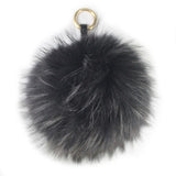 Black 18cm Raccoon Fur Bag Charm