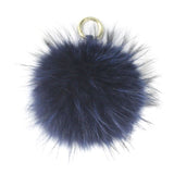 Midnight Blue 15cm Raccoon Fur Bag Charm