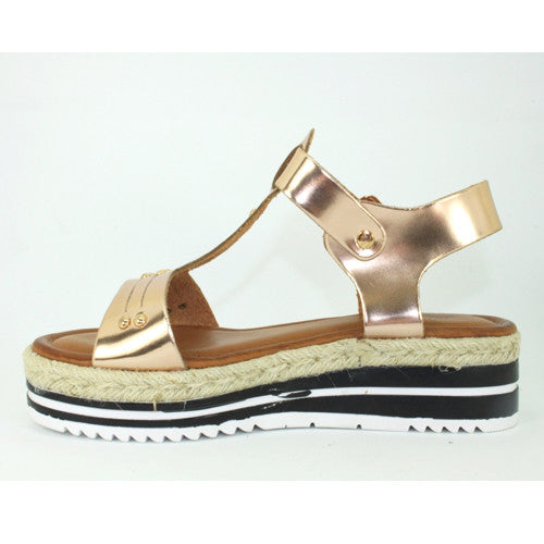 Stella | Metallic T.Bar Flatform | Rose Gold