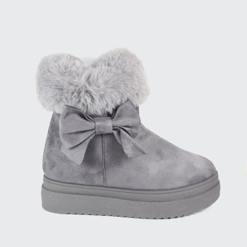 0988f834653 Tilda - Fur Cuff Bow Ankle Boot - Grey