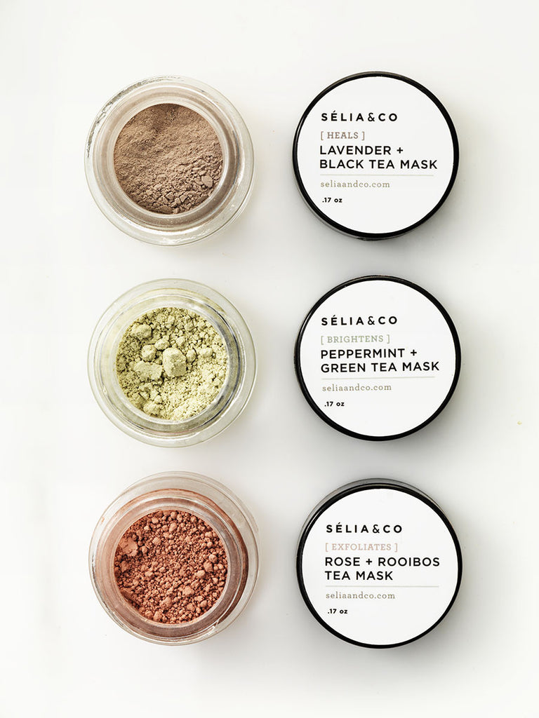 Sample Clay Mask Set with Tea and organic botanicals