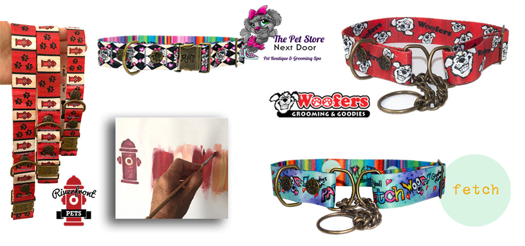 Samples of collars and leashes we created with our cutomers artwork