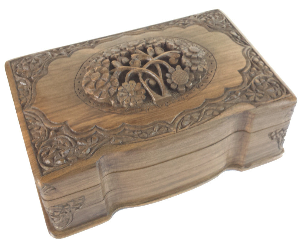"""Floral Bouquet"" Carved Wooden Secret Box of India - M. Ayub - 8"" x 5"" x 3.5"""