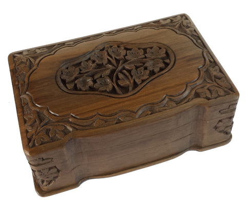 """Leaf Majesty"" Carved Wooden Secret Box of India 8""x5""X3"""