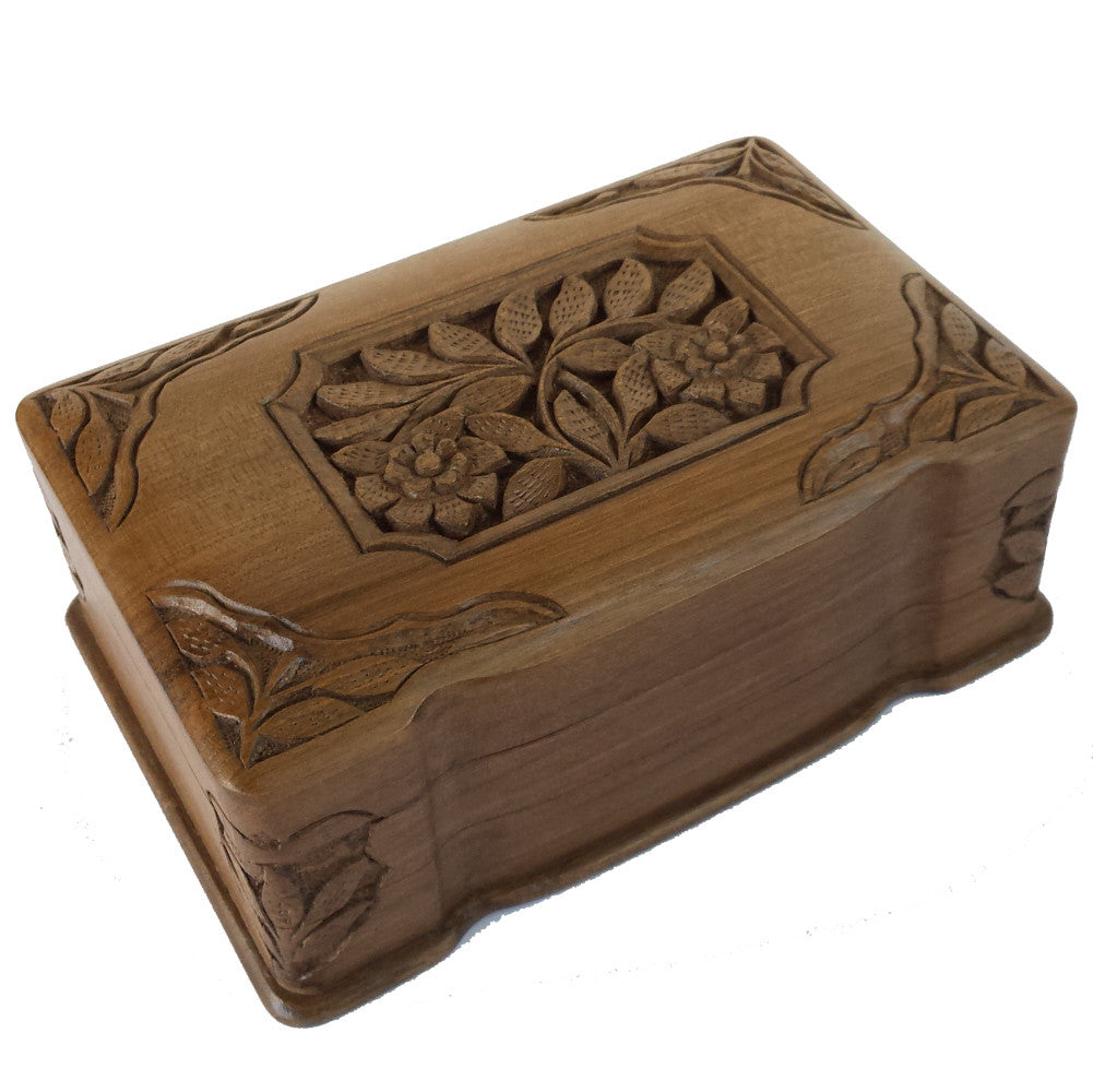"""Eternally Yours"" Carved Wooden Secret Box of India 8"" x 5"" x 3"""