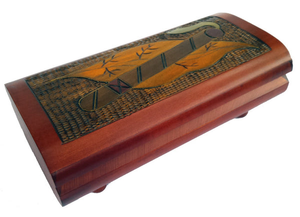 Handsome Handcrafted Cigar Box with Brass Inlay