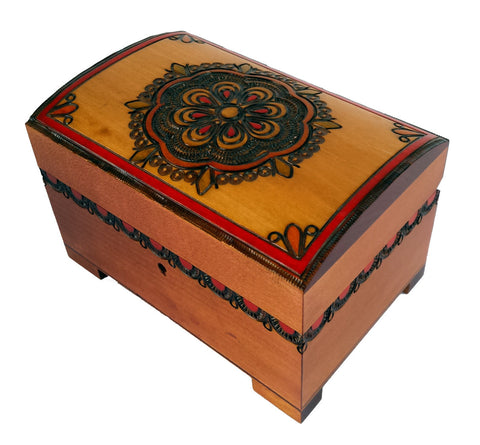 """Dream Catcher"" Traditional Wooden Polish Chest with Key"