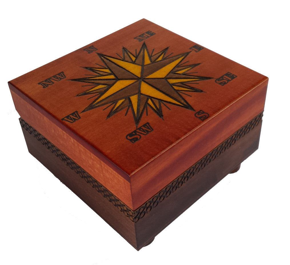 Cartography handcrafted wooden secret box from Poland