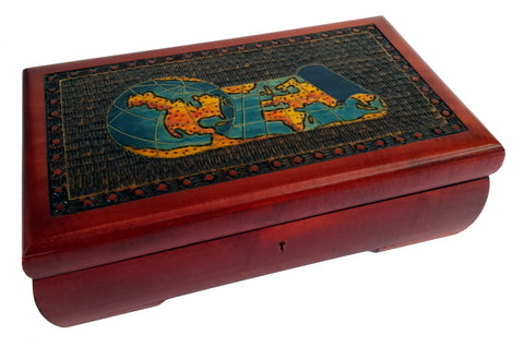 World View Wooden Chest with Lock and Key
