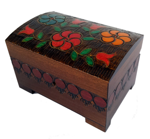 Bright Flowers Wooden Box with Lock & Key