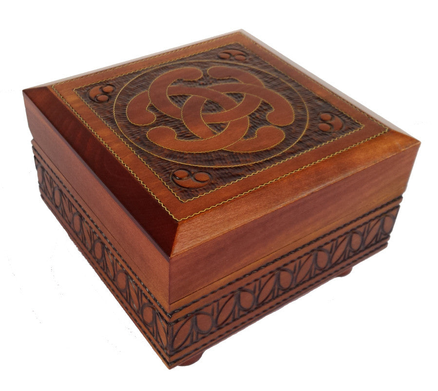 Handcrafted Celtic Knot secret box of Poland with Brass inlay