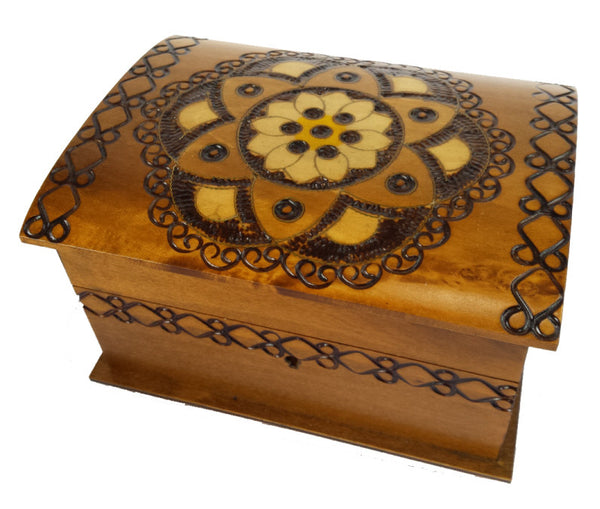 Floral Chakra Wooden Polish Box with Lock and Key